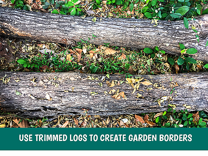 Logs can create helpful borders around your garden